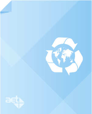 Light blue page with AET logo and white recycling logo around the earth.