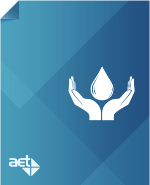 Blue page with AET logo and two hands holding a water drop.