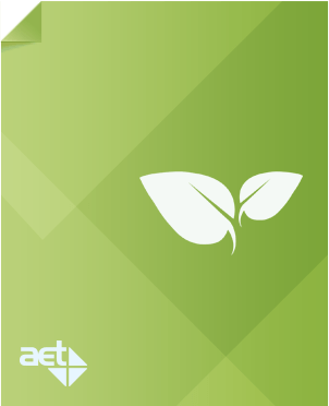 Green page with AET logo and white leaf.
