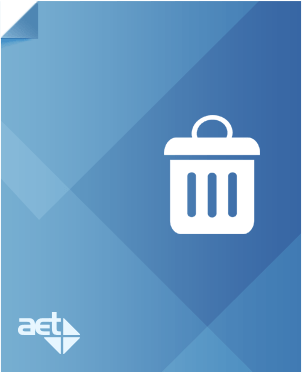 Blue page with AET logo and white garbage can.