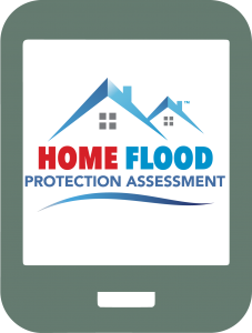 Tablet with Home Flood Protection Assessment logo on screen.