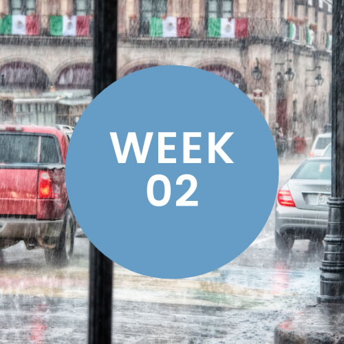 """Rain falling in a street with cars. A blue circle with """"Week 02"""" is in center of photo."""