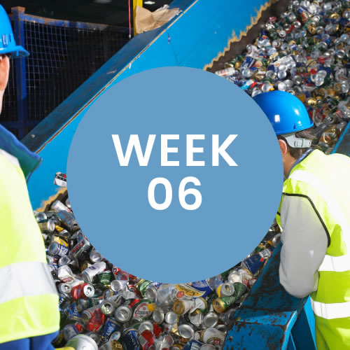 """Two men in safety vests and hard hats looking at recycled cans. A blue circle with """"Week 06"""" is in center of photo."""