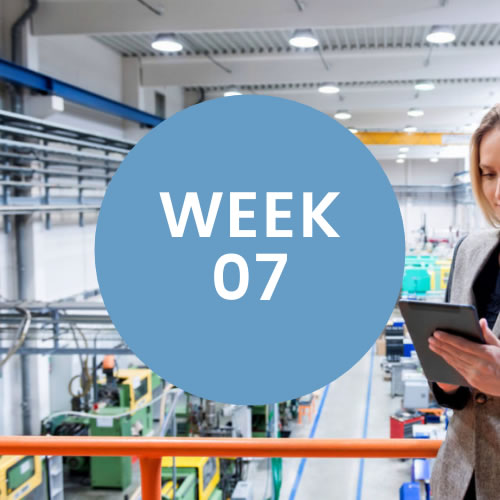 """Woman looking at checklist in warehouse. A blue circle with """"Week 07"""" is in center of photo."""